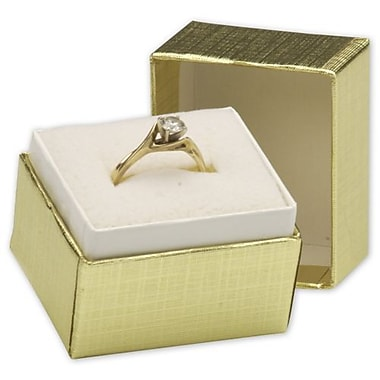 1 1/2in. x 1 1/4in. x 1 1/2in. Jewelry Boxes, Gold Linen