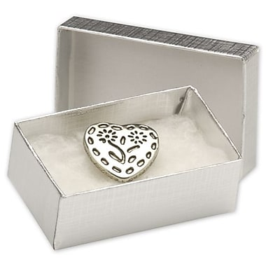 2 1/2in. x 1 1/2in. x 7/8in. Linen Jewelry Boxes, Silver