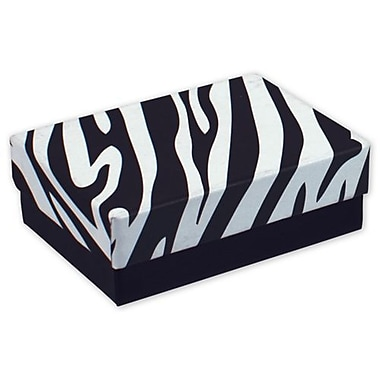 3in. x 2 1/8in. x 1in. Zebra Jewelry Boxes, Black/White