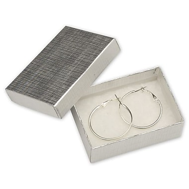3 1/16in. x 2 1/8in. x 1in. Linen Jewelry Boxes, Silver
