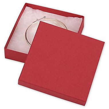 3 1/2in. x 3 1/2in. x 7/8in. Kraft Jewelry Boxes, Red
