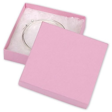 3 1/2in. x 3 1/2in. x 7/8in. Kraft Jewelry Boxes, Pink
