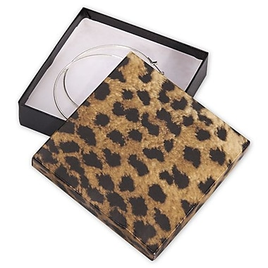 3 1/2in. x 3 1/2in. x 7/8in. Leopard Jewelry Boxes, Black/Brown