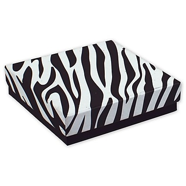 3 1/2in. x 3 1/2in. x 7/8in. Zebra Jewelry Boxes, Black/White