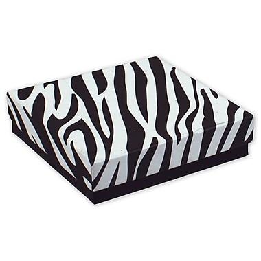 3 1/2in. x 3 1/2in. x 7/8in. Zebra Jewelry Boxes, Black/White