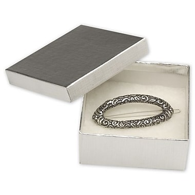 3 1/2in. x 3 1/2in. x 1 1/2in. Linen Jewelry Boxes, Silver