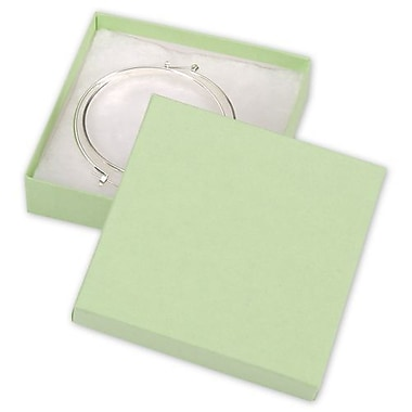 3 1/2in. x 3 1/2in. x 7/8in. Kraft Jewelry Boxes, Light Green