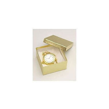 3 1/2in. x 3 1/2in. x 2in. Linen Jewelry Boxes, Gold