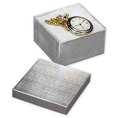 3 1/2in. x 3 1/2in. x 2in. Linen Jewelry Boxes, Silver