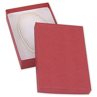 5 7/16in. x 3 1/2in. x 1in. Kraft Jewelry Boxes, Red