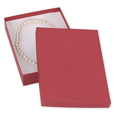 Kraft Paper 1.25in.H x 5in.W x 7in.L Jewelry Boxes, Red, 100/Pack