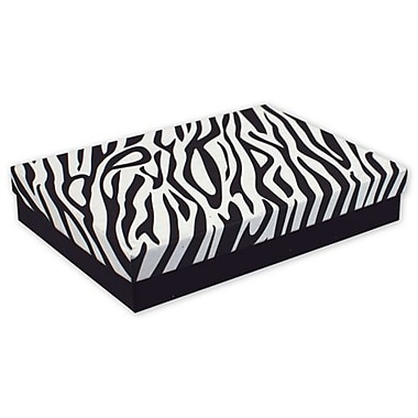 7in. x 5in. x 1 1/4in. Zebra Jewelry Boxes, Black/White