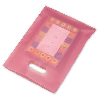 9in. x 12in. Frosted High Density Merchandise Bags, Cerise