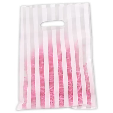 9in. x 12in. Stripe Frosted High Density Merchandise Bags, White