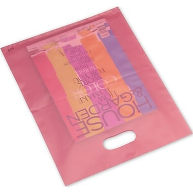 12in. x 15in. Frosted High Density Merchandise Bags, Cerise