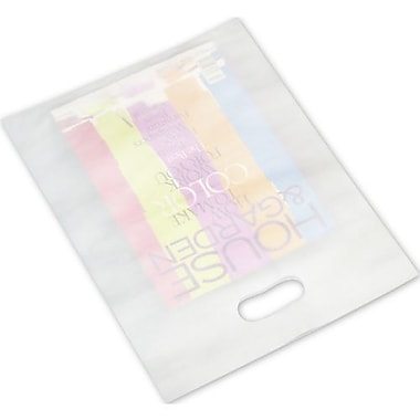 12in. x 15in. Frosted High Density Merchandise Bags, White