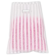 12 x 15 Stripe Frosted High Density Merchandise Bags, White