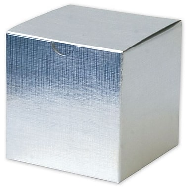 4in. x 4in. x 4in. Linen Foil One-Piece Gift Boxes, Silver