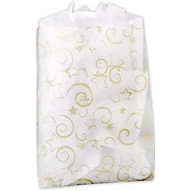 14in. x 3in. x 21in. Stars Frosted High Density Merchandise Bags, Gold