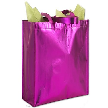 9 1/4in. x 4 1/2in. x 12in. Party on Metallic Non-Woven Totes, Pink