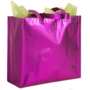"14 1/4"" x 6"" x 15 1/2"" Party on Metallic Non-Woven Totes, Pink"