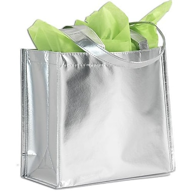 14 1/4in. x 6in. x 15 1/2in. Center Stage Metallic Non-Woven Totes, Silver