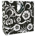 12in. x 4in. x 12in. Bloomin' Love Mod Bag Medium Shoppers, White on Black
