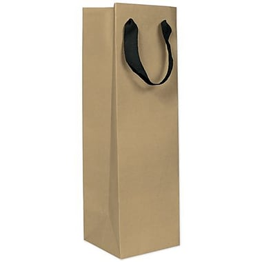 15in. x 4 1/2in. x 4 1/2in. Matte Manhattan Eco Euro-Shopper Wine Bottle Bags, Kraft