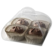 "Paper 1.63""H x 3""W x 3""L Solid Truffle Tote, Clear, 50/Pack"