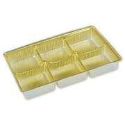 "Polyethylene Terephthalate 0.63""H x 3""W x 4.5""L Solid Candy Tray, Gold, 25/Pack"