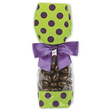 Polypropylene 9.5in.H x 2in.W x 1.88in.D Cello Bags, Purple Dots on Pistachio, 100/Pack