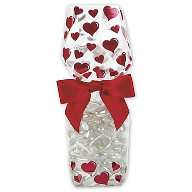 2 5/8in. x 1 7/8in. x 10 3/4in. Hearts Cello Bags, Red