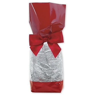 2in. x 1 7/8in. x 9 1/2in. Solid Band Cello Bags, Red