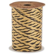"1/4"" x 100 yds. Tiger Matte Wraphia Ribbon, Black/Brown"