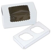 8 x 4 x 4 2 Cup Windowed Standard Cupcake Boxes, White