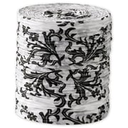 "1 1/2"" x 25 yds. Crinkle Paper Damask Ribbon, Black on White"