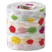 "1 1/2"" x 25 yds. Crinkle Paper Fun Dots Ribbon, White"