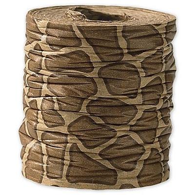 1 1 2 x 25 yds. Crinkle Paper Giraffe Ribbon Brown