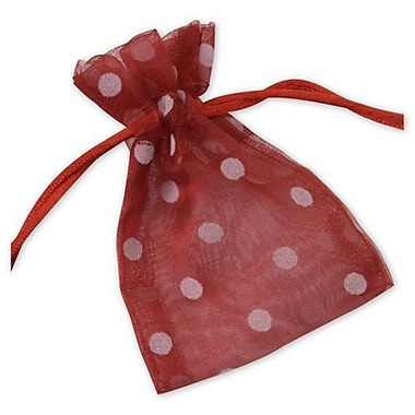 3in. x 4in. Polka Dot Organdy Bags, White on Red