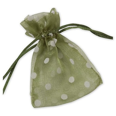 3in. x 4in. Polka Dot Organdy Bags, White on Ivy