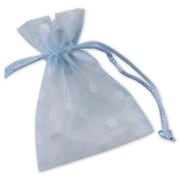 3 x 4 Polka Dot Organdy Bags, White on Ocean Blue