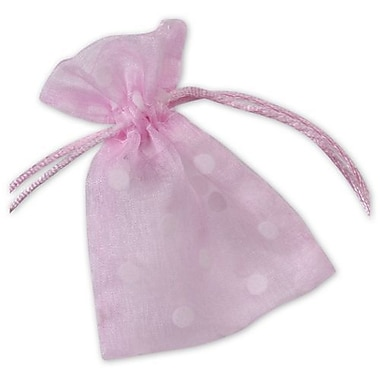 3in. x 4in. Polka Dot Organdy Bags, White on Pink