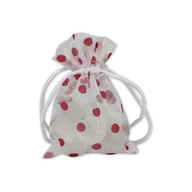 3in. x 4in. Polka Dot Organdy Bags, Red on White