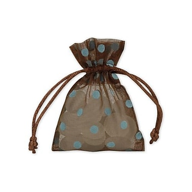 3in. x 4in. Polka Dot Organdy Bags, Blue on Brown