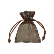 "Fabric 4""H x 3""W Organdy Bags, Blue Dots on Brown, 12/Pack"