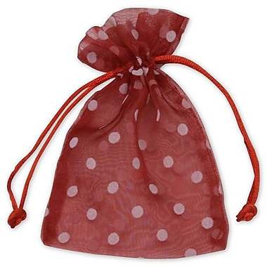 4in. x 6in. Polka Dot Organdy Bags, White on Red