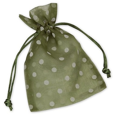 4in. x 6in. Polka Dot Organdy Bags, White on Ivy