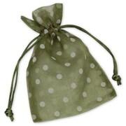 4 x 6 Polka Dot Organdy Bags, White on Ivy