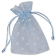 4 x 6 Polka Dot Organdy Bags, White on Ocean Blue