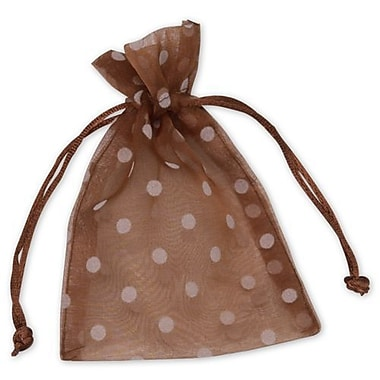4in. x 6in. Polka Dot Organdy Bags, White on Mocha